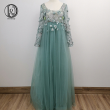 Photo-Shoot-Props Evening-Dress Judy Maternity-Gown Tulle Long-Sleeve Don for Flowers