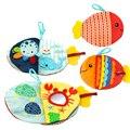 Книжка тканевая в виде маленькой рыбы, креативная мультяшная мягкая игрушка для младенцев с морскими животными, моющаяся, для раннего разви...