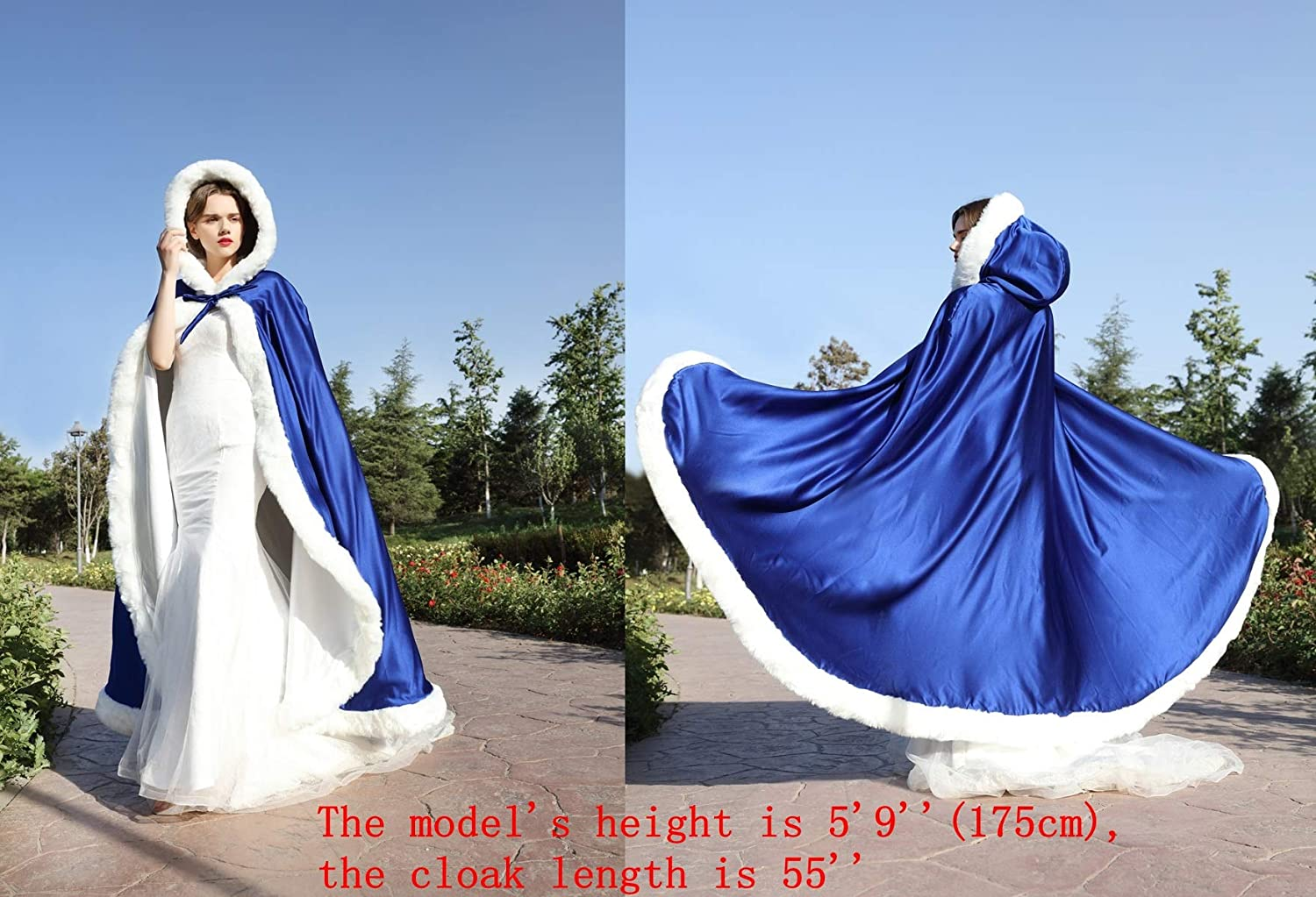 Wedding Cape with hooded coat For bride Winter Reversible With fur trim Free hand Muff Full length 50 55 inch Shrug campera