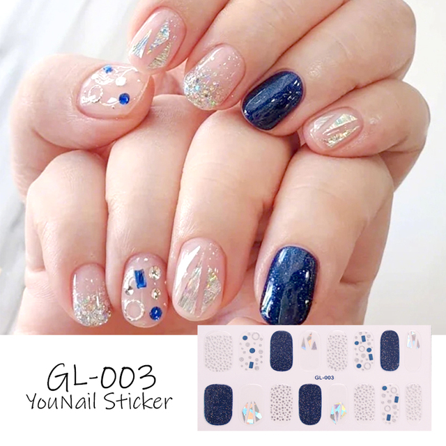 1 Sheet Glitter Series Powder Sequins Fashion Nail Art Stickers Collection Manicure DIY Nail Polish Strips Wraps for Party Decor 1