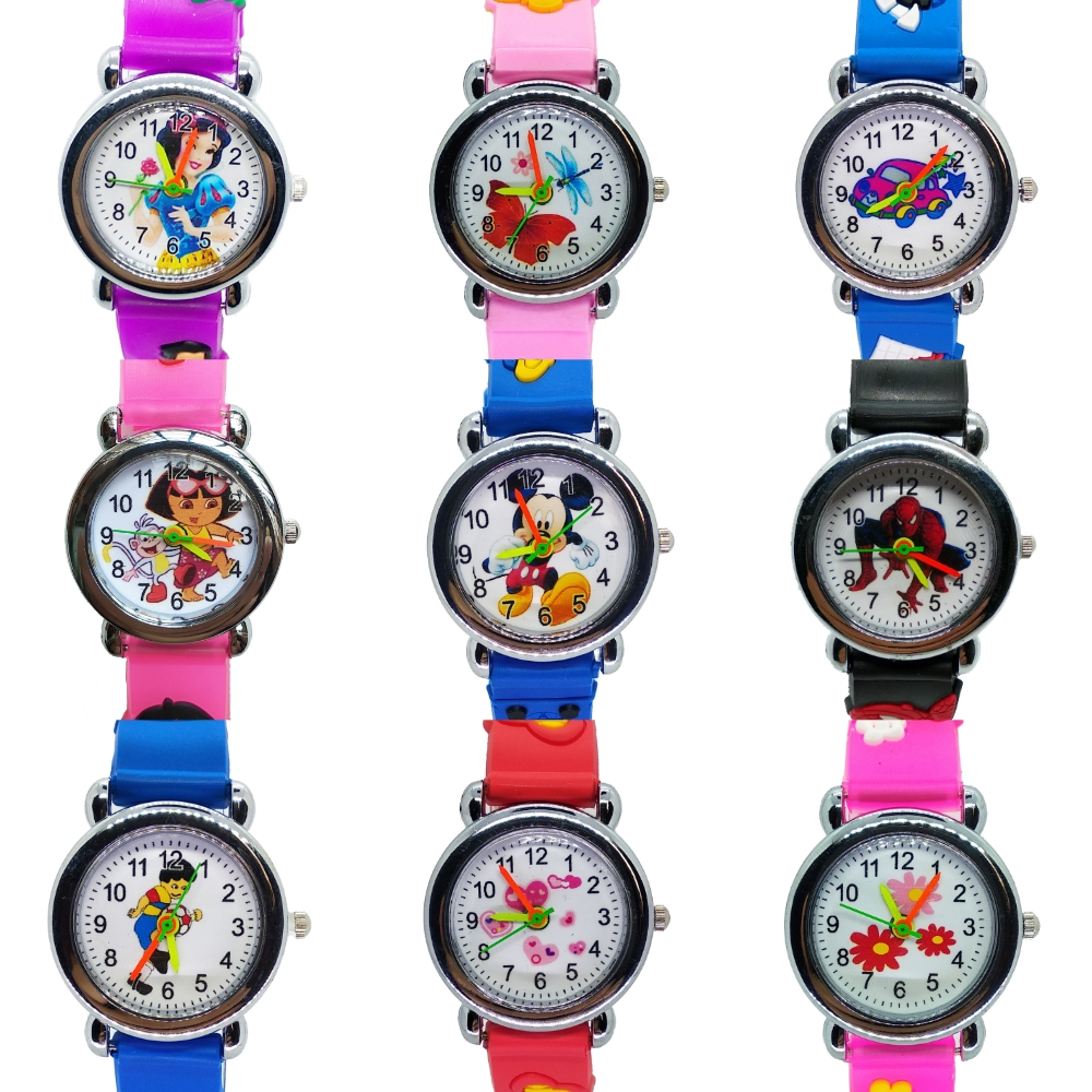 3D Cartoon Spiderman Princess Doll Children Watch For Girls Boys Gift Students Clock Waterproof Kids Watches Quartz Wristwatches