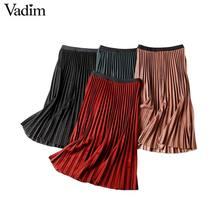Vadim 女性の基本的なソリッドプリーツスカート弾性ウエストワイン赤黒ミディスカート女性カジュアルミッドふくらはぎスカート BA848