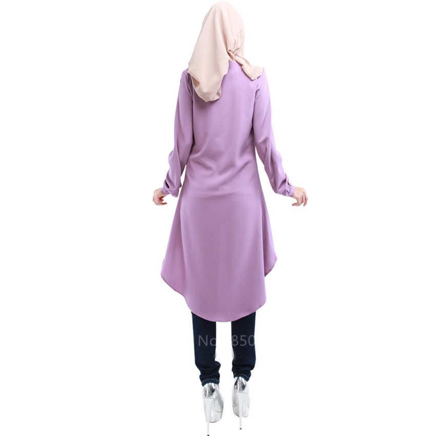 Frauen Muslimischen Abaya Einfarbig Lose Taste Hemd Kleid Erwachsene Elegante Islamischen Arabisch Unregelmäßigen Robe Strickjacke Türkische Kleidung