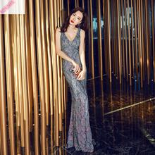 2019 Cotton Vadim New Embroidered Banquet Dress For Women Elegant Celebrity Party Presides Over Dresses At The Annual Meeting
