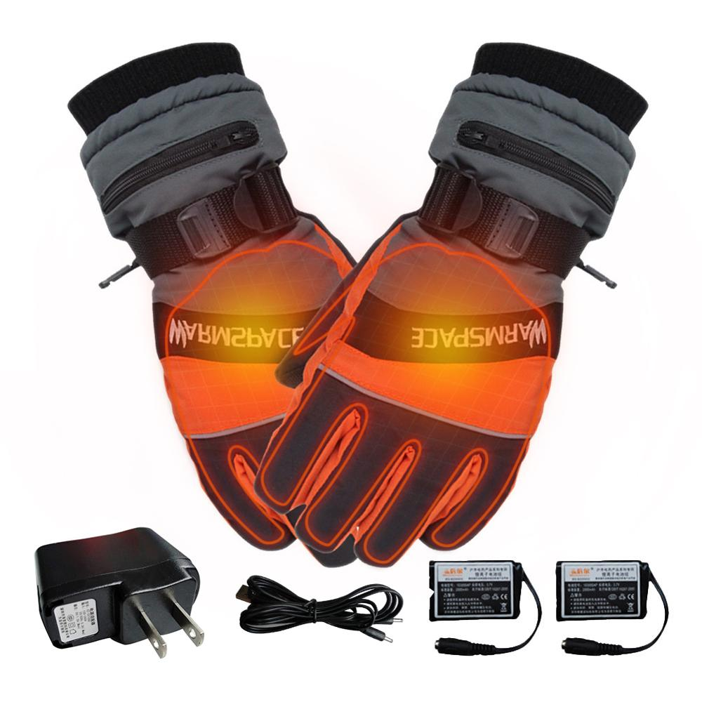 Winter USB Hand Warmer Electric Thermal Gloves Rechargeable Battery Heated Gloves Bicycle Ski Gloves Unisex Verwarmde Handschoen
