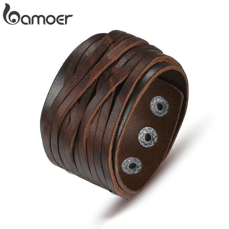 BAMOER Black & Brown Genuine Leather Bracelet With Alloy Buckle Adjustable Fashion Women & Men Bracelets Jewelry PI0337 1