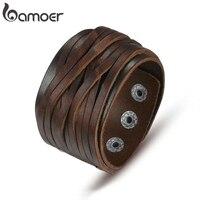 BAMOER-pulsera de piel auténtica para hombre y mujer, brazalete ajustable con hebilla de aleación, color negro y marrón, PI0337-1 de joyería