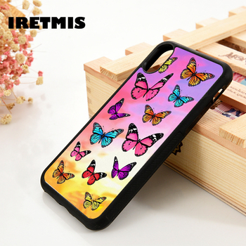 Iretmis 5 5S SE 6 6S Soft Silicone Rubber phone case cover for iPhone 7 8 plus X Xs 11 Pro Max XR Colorful Butterfly Patterns 1