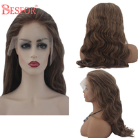 BESFOR Real Brazilian 13×6 Lace Front Human Hair Wigs Dirty Blonde Highlights Balay age Human Hair Color 150% Density