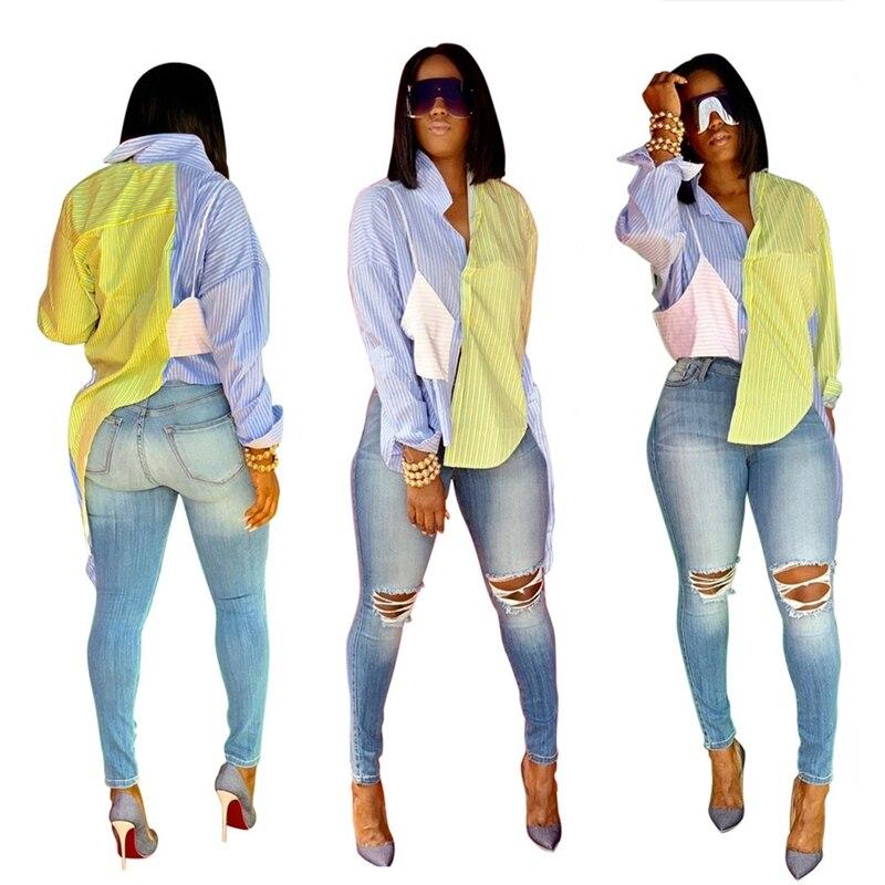 Blue Patchwork Blouse Shirts Women Tops 2020 Turn-down Collar Long Sleeve Elegant Stripe Shirt Korean Casual Blue Shirt Africa