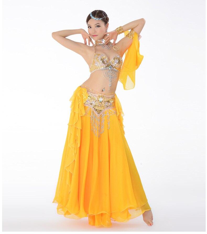 Костюм для танца живота, одежда для выступлений с бисером для женщин, костюмы для танца живота, бюстгальтер, пояс, юбка, комплекты одежды - Цвет: Синий