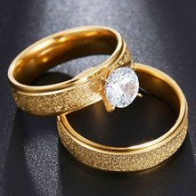 Visisap Titanium Steel Men Women Couples Ring 8MM Inlaid Zircon Gold Color Wedding Rings Dropshipping Gifts Party Jewely S-R174 visisap titanium steel wide men ring size 7 14 dropshipping yellow black steel gold color rings for birthday gifts jewelry s r35