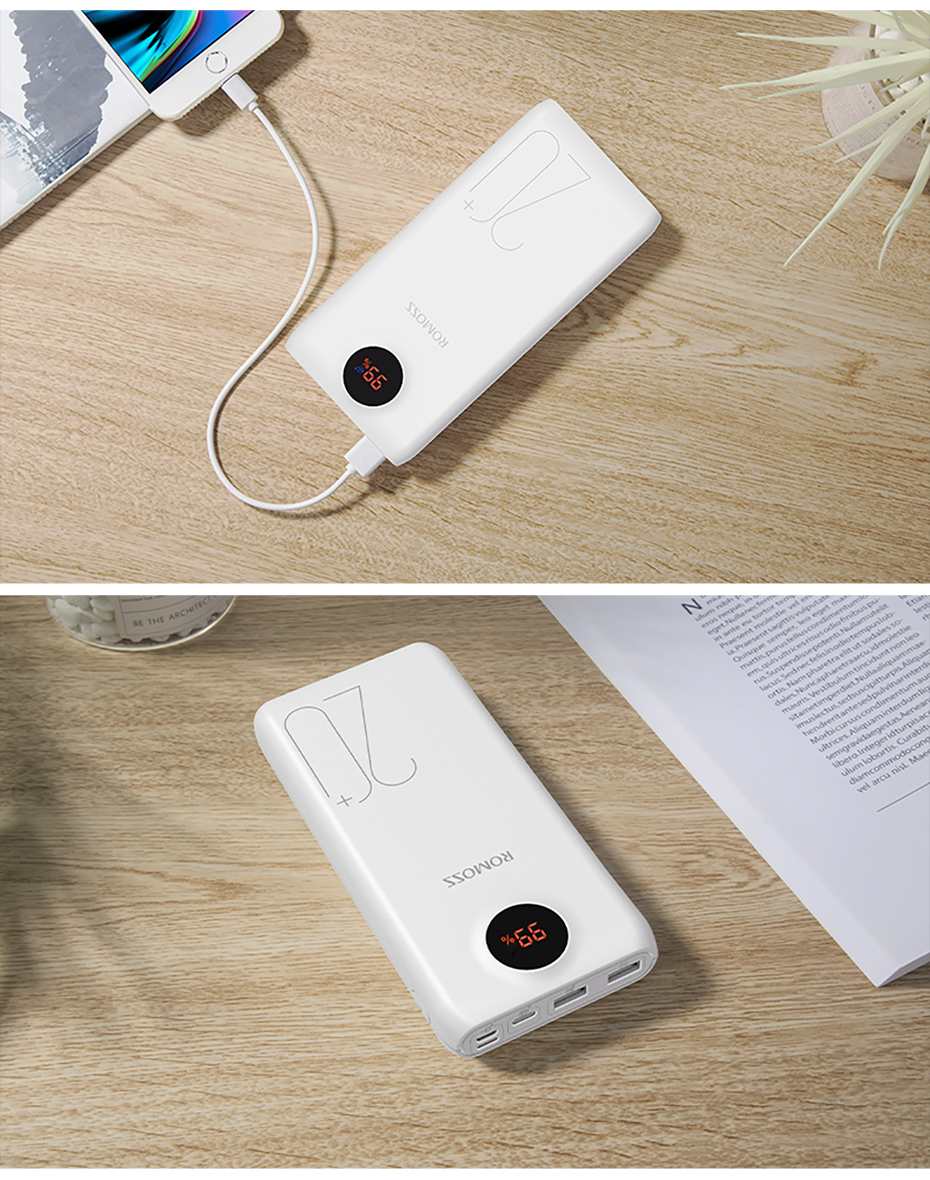 20000mAh ROMOSS SW20 Pro Portable Power Bank Charger External Battery PD 3.0 Fast Charging With LED Display For Phones Tablet