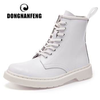 DONGNANFENG Womens Female Men Autumn Genuine Leather Ankle Shoes Boots Platform Lace Up Winter Fur Plush Plus Size 43 44