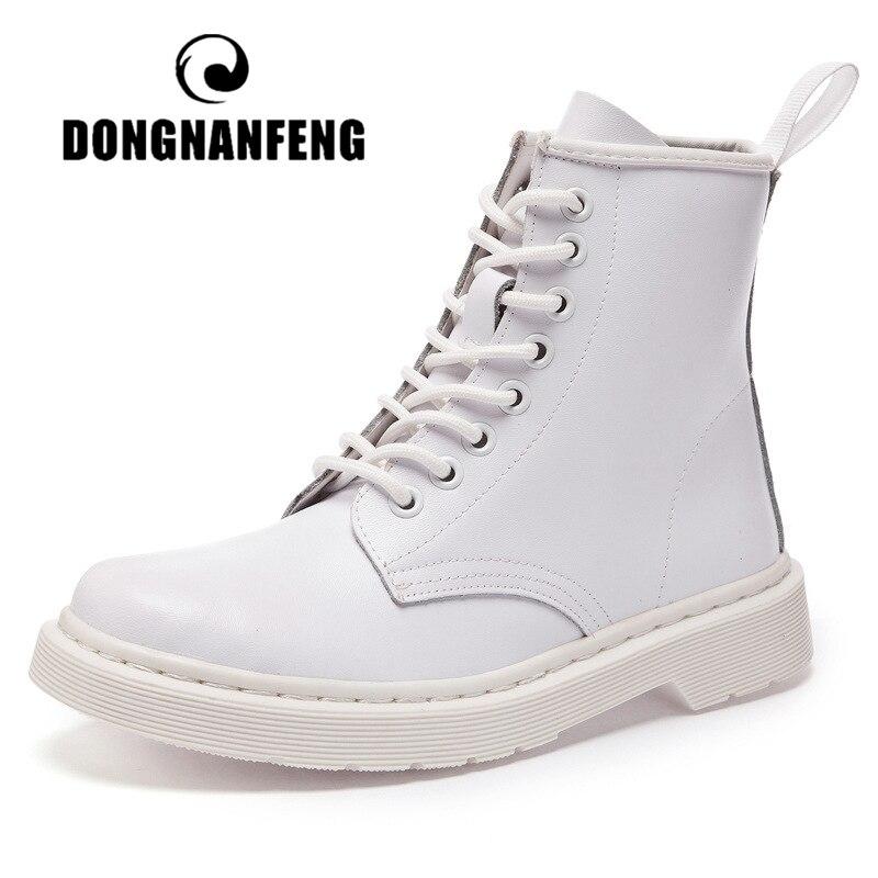 DONGNANFENG Women's Ladies Female Shoes Boots Platform Genuine Leather Lace Up Winter Fur Plush Warm Ankle Plus Size 35-44