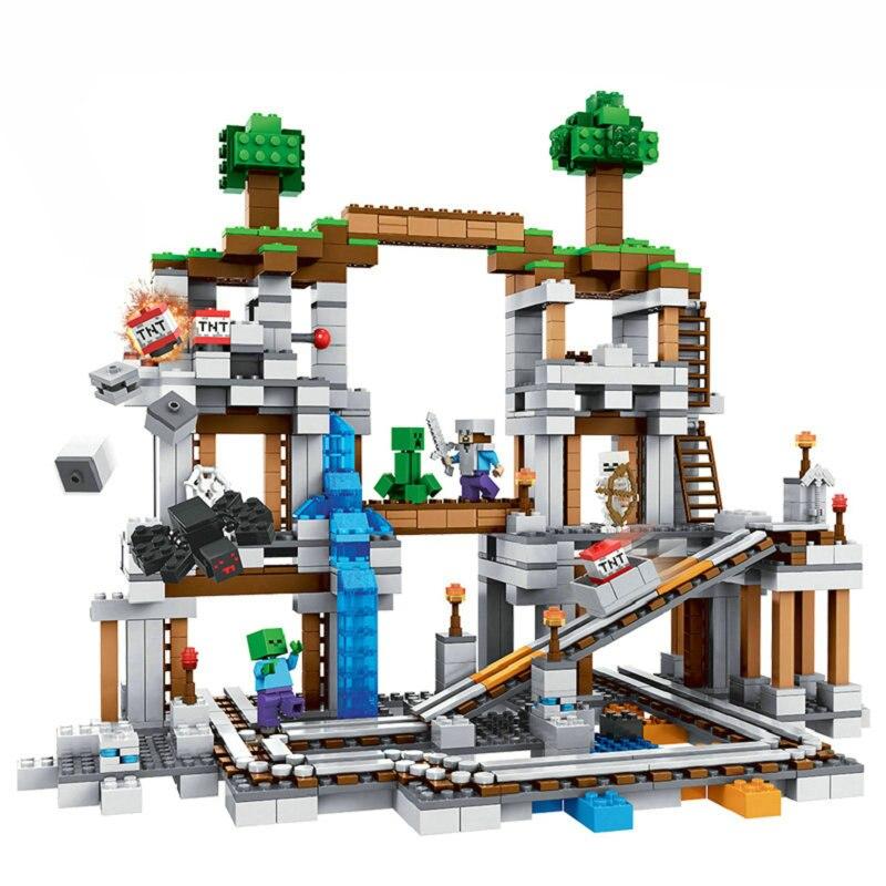 The Mine Set Building Blocks With Steve Action Figures Compatible LegoINGlys MinecraftINGlys Sets Toys 21118