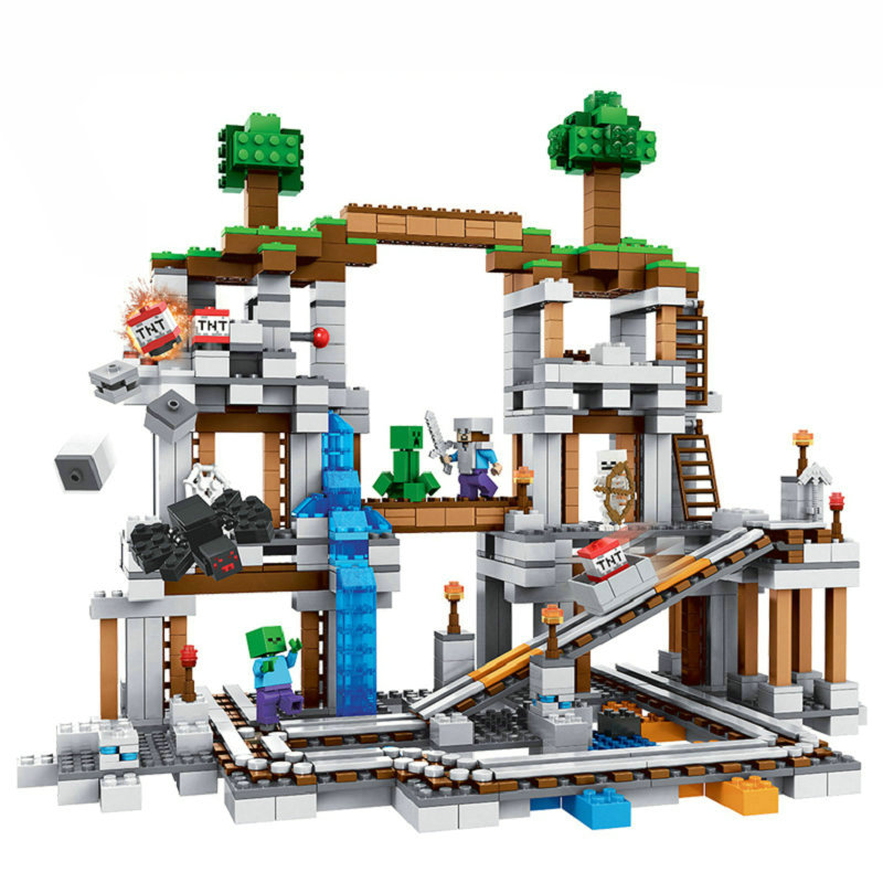 The Mine Set Building Blocks With Steve Action Figures Compatible Lepining MinecraftINGlys Sets Toys 21118