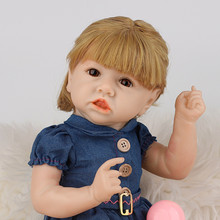 Full Body Silicone Doll 22'' Pouting Baby Doll Reborn Baby Doll Babe Reborn Princess Reborn Doll Birthday Gift Girl Doll warkings reborn