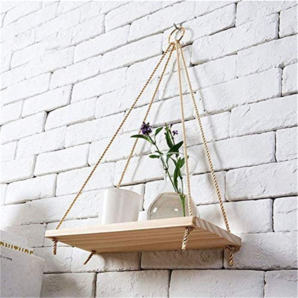 Floating-Shelves Hanging-Rope Swing Flower-Pot Wall-Mounted Wood -Plant Premium