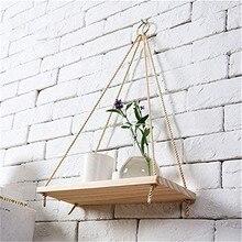 Floating-Shelves Flower-Pot Wood -Plant Hanging-Rope Swing Wall-Mounted Premium