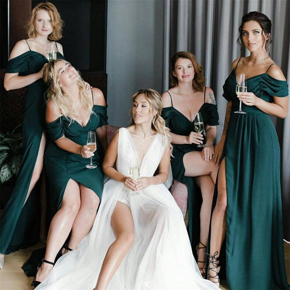 Sexy Cheap A Line Bridesmaid Dresses SPaghetti Straps High Side Split Wedding Guest Dress Maid of Honor Gowns robes