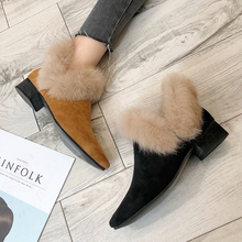 Warm Fluffy Womens Winter Boots 2019 Pointed Toes Women Snow Fashion Fall Slip On High Heels Sexy Black
