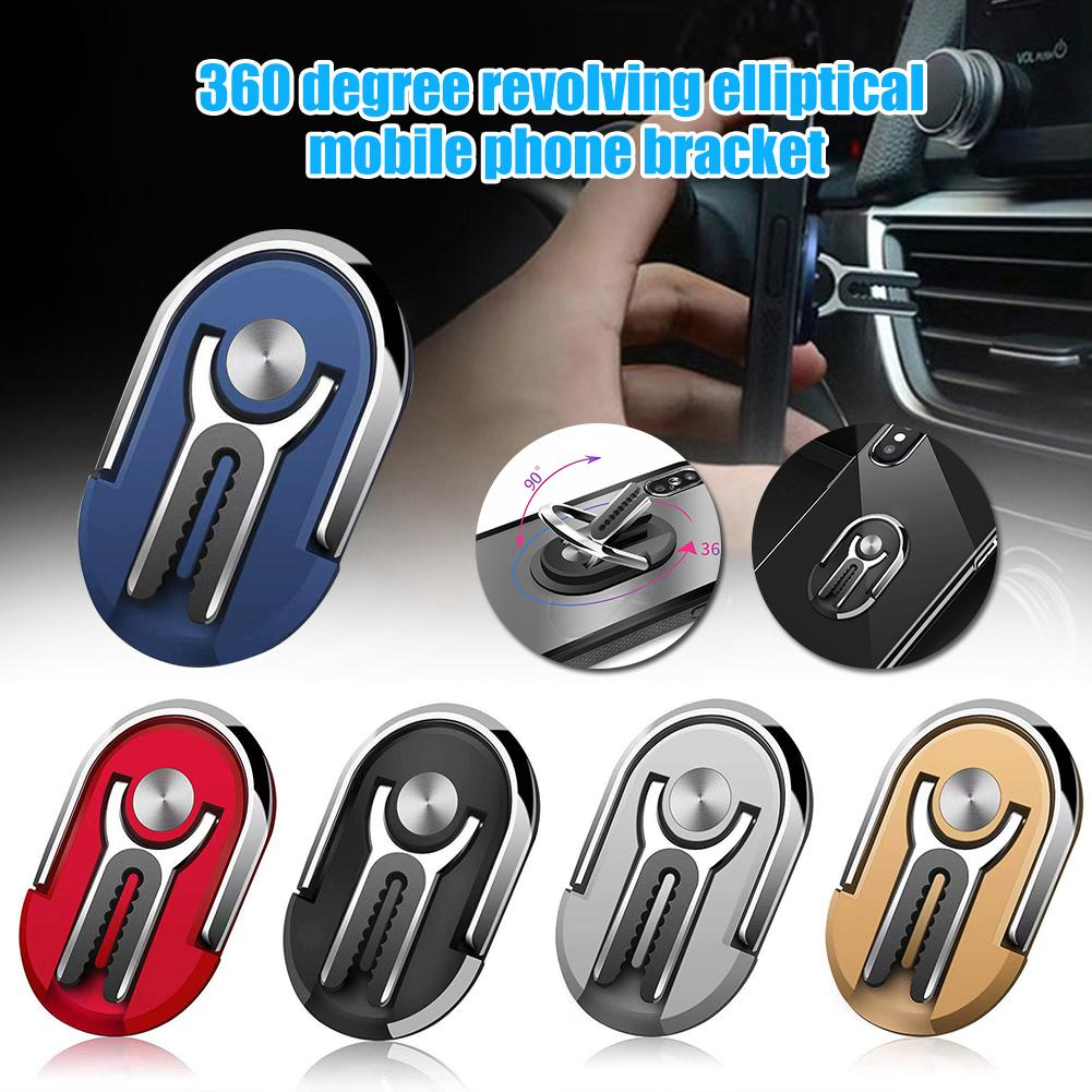 Universal Phone Holders Oval Alloy 360 Degree Rotating Car Air Vent Finger Ring Cell Phone Holder Stand