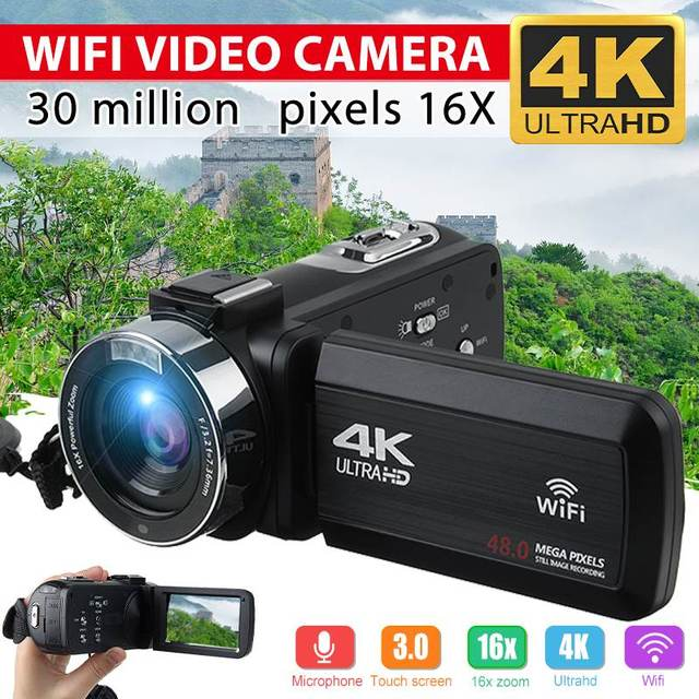4K Video Camera Ultra HD 30MP WiFi DV Camcorder Digital Video Camera 270 Degree Rotation Touch Screen 16X Digital Zoom Camera