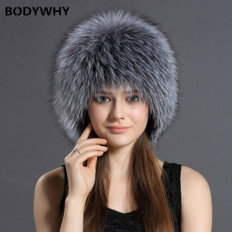 Winter New Fur Hat 100% Real Raccoon /Silver Fox Fur Knitted Cap Women's Hats Female Warm Snow Caps Ladies Elegant Princess Hat