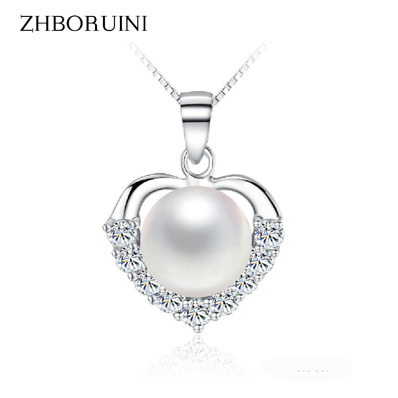 ZHBORUINI Pearl Necklace 925 Sterling Silver Jewelry For Women Pearl Jewelry Natural Freshwater Pearl Love Heart Pendants  Gift