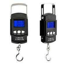 Портативный освещенная контржурным светом ЖК-дисплей Дисплей 110lb/50кг электронные весы цифровые рыболовный почтовый шкала подвесного крючка с измерительная лента