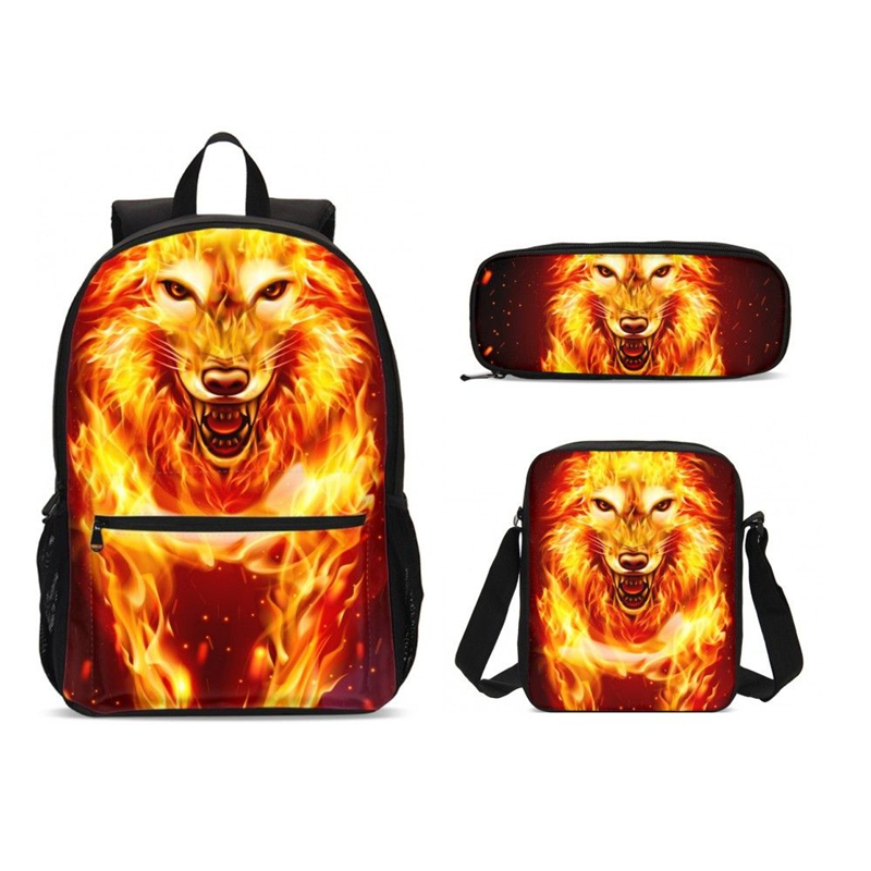 3Pcs/Set Portfolio School Bags For Boys Girls Cool Animal Fire Lion 3D Printing Backpack Teenage Bookbag Satchel Mochila Escolar