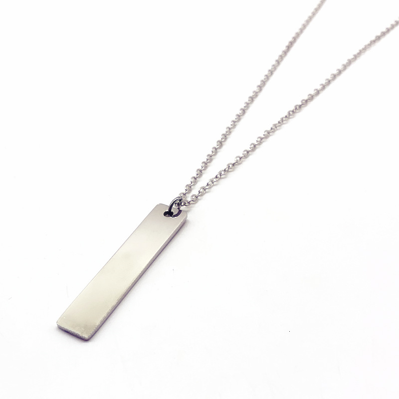 2020 Fashion New Black Rectangle Pendant Necklace Men Trendy Simple Stainless Steel Chain Men Necklace Jewelry Gift