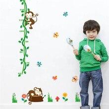 Sleeping Monkey Height Measure Wall Stickers For Kid Nursery Room Decor Flower Butterfly Height Chart Cartoon Art Decals animal height chart wall stickers diy kid room decor