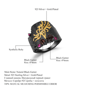 Image 5 - GEMS BALLET Natural Black Garnet Gemstones Band Ring 925 Sterling Silver Handmade Equinox Flower Rings Woman's Art Jewelry