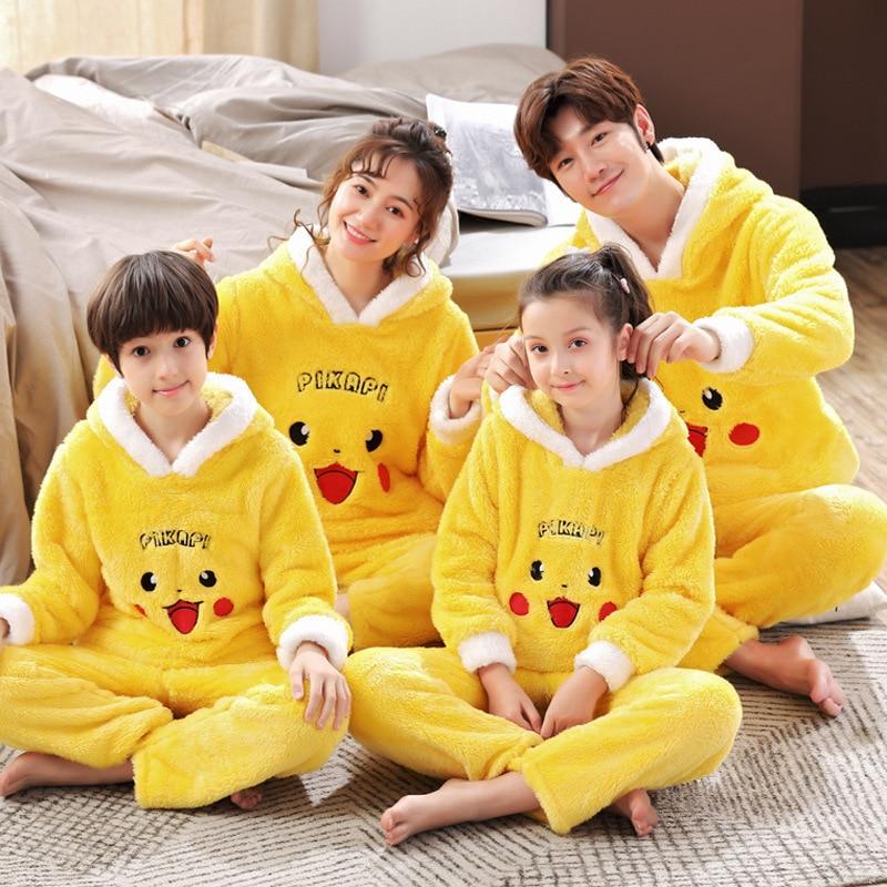 Winter Parent-Child Pajama Set Children Flannel Pyjamas Thickened Plush Hoodie Long Sleeve Animal Bear Femme Homewear Nightwear