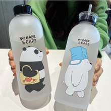 1000ml kungfu Panda Transparent Plastic Bottle Cartoon Frosted water Bottles Leak-proof Drinkware Cute Student Girl Gift Cup