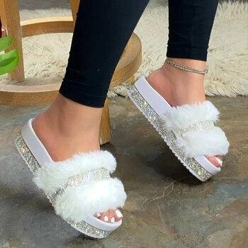 2020 Bling Women's Plush Slippers Fur Slides Rhinestones Outdoor Flat Women Platform Sandals Stylish Casual Shoes Plus Size 43