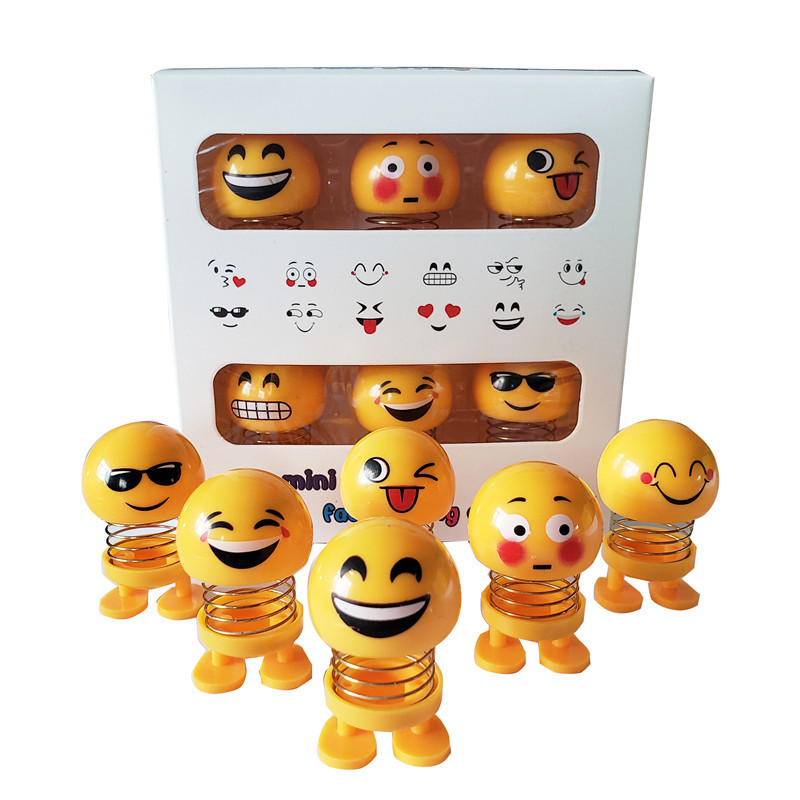 "6 Pcs Huihom Cute Mini Shaking Head Car Ornament Doll Funny Smile Face Dancing Toy Dashboard Decoration Accessories 2*1.2""/5*3cm"