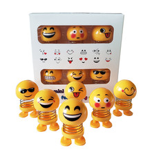 6 Pcs Huihom Cute Mini Shaking Head Car Ornament Doll Funny Smile Face Dancing T