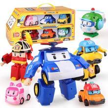 6 pçs/set Coréia Brinquedos Transformação Robô Poli Robocar poli Roy Âmbar Carro Modelo Anime Figura de Ação Brinquedos Para As Crianças Melhor Presente