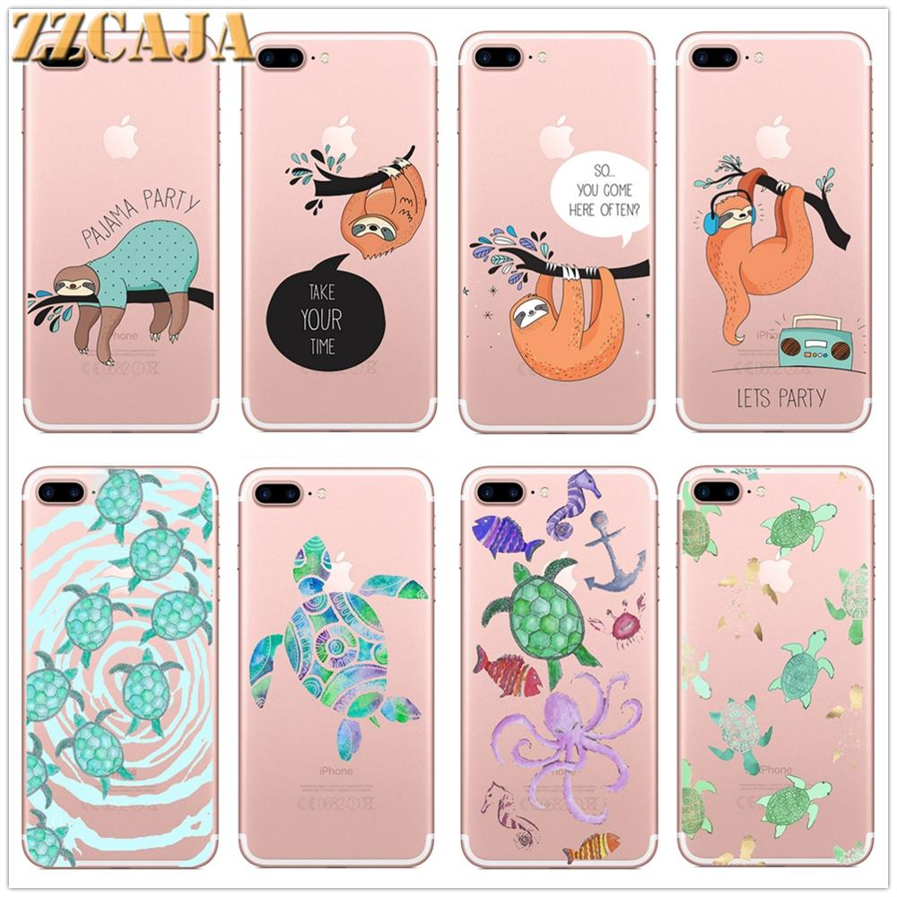 Clear Cases For Apple iPhone X XS Max XR 11 Pro Max 6 6S 7 8 Plus 5 5S SE Soft Silicone Sloth Sea Turtle Design Phone Covers Bag