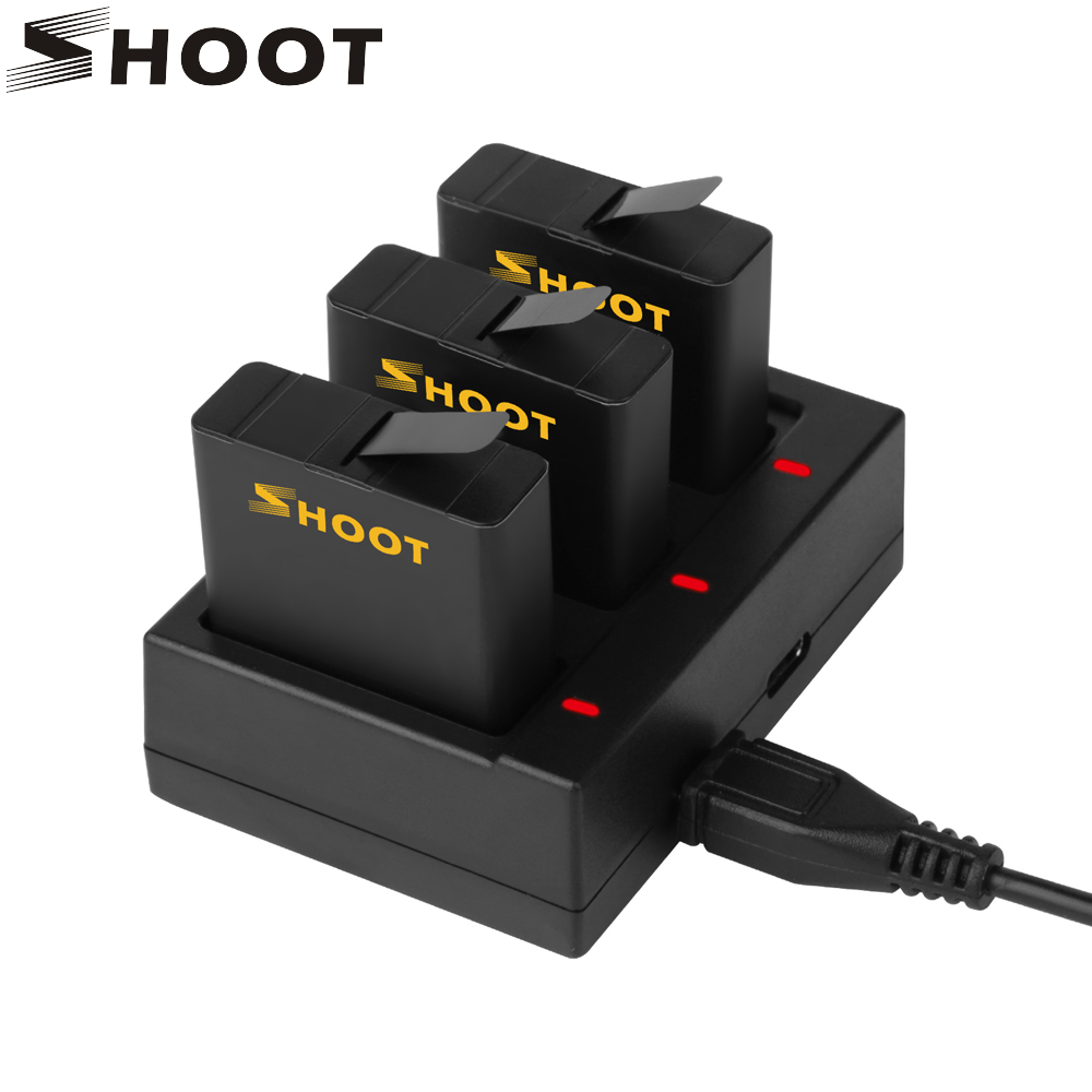 SHOOT for Go Pro Hero 8 7 5 Black Battery with Charger Mount for GoPro Hero 8 7 6 5 Black Sports Action Camera Battery Accessory