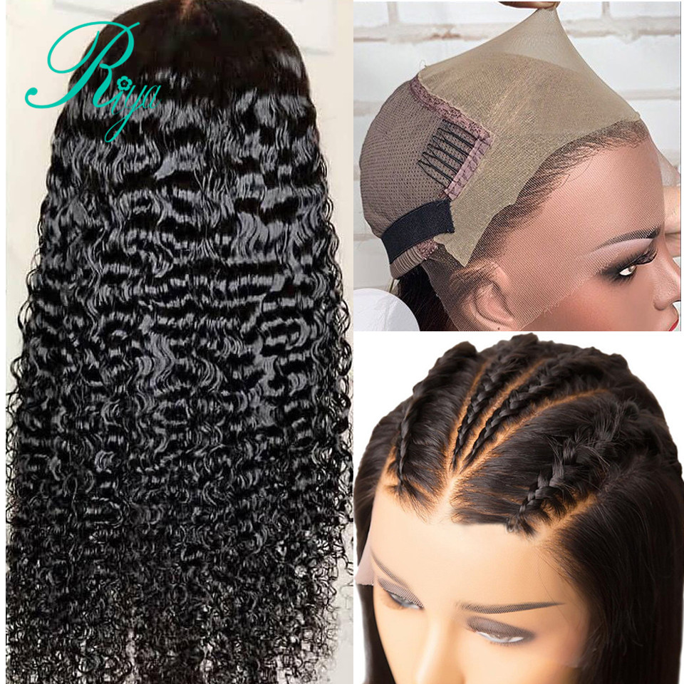 Invisible Fake Scalp 13x6 Deep Curly Lace Front Human Hair Wigs For Black Women Pre Plucked