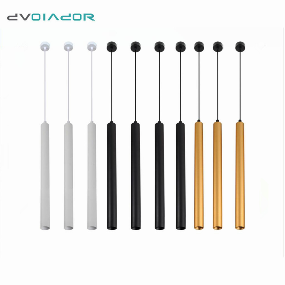 Black Industrial Pendant Lights Long Tube Hanging Lamp For Living Room Home Light Fixtures Decor Luminaire Kitchen Lights
