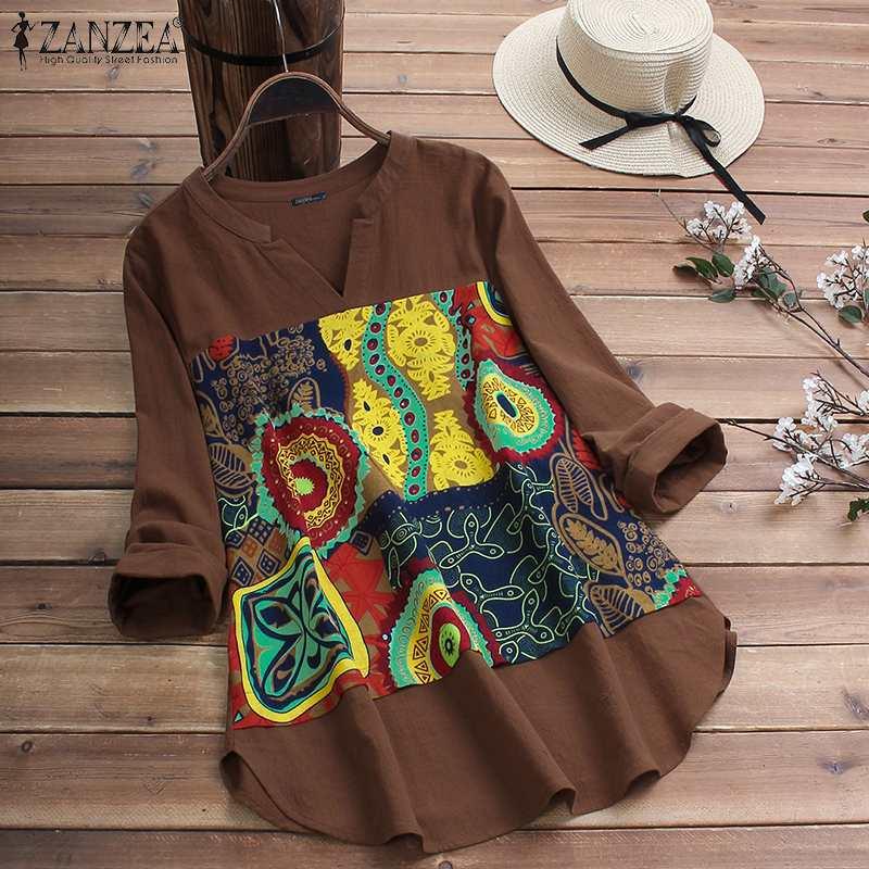 ZANZEA Осень с длинным рукавом цветочный принт блузка для женщин Винтаж V образным вырезом рубашки повседневное Pacthwork Топы халат хлопок лен Blusas Mujer|Блузки и рубашки|   | АлиЭкспресс