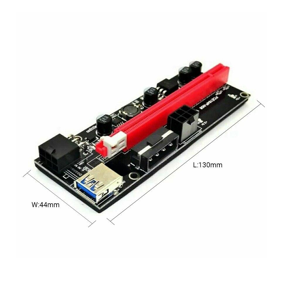 New PCI-E pcie Riser 009 Express 1X to 16x Extender PCI E USB Riser 009S Dual 6Pin Adapter Card SATA 15pin for BTC Miner-3