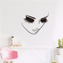 KAKUDER Beauty Eyelash Spa Salon Woman Face Wall Sticker Hair Nail Manicure Fashion Salon Spa Window Wall Decal Vinyl Decor Nov(China)