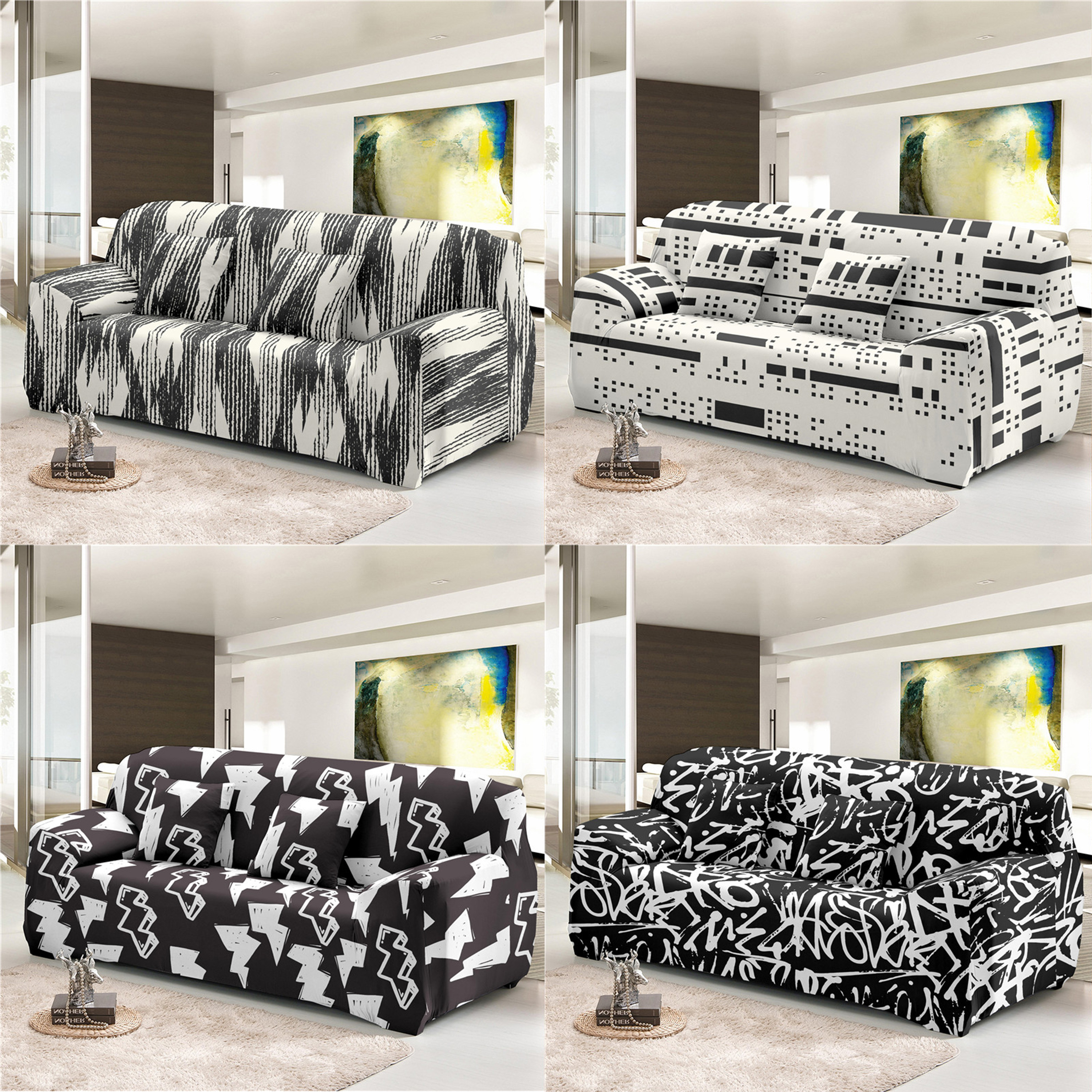 Zeimon Geometric Sofa Cover Black White All Inclusive Slip Resistant Sectional Couch Cover Loveseat Home Decor For Living Room Sofa Cover Home Garden Aliexpress