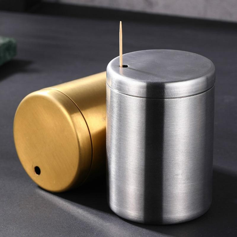Stainless Steel Gold Cylinder High-grade Toothpick Box Barrel Hotel Toothpick Holder metal Toothpick Dispenser Tooth Pick Holder